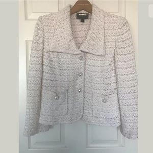 St. John Couture Pink/White w/Sequin Pearl Blazer